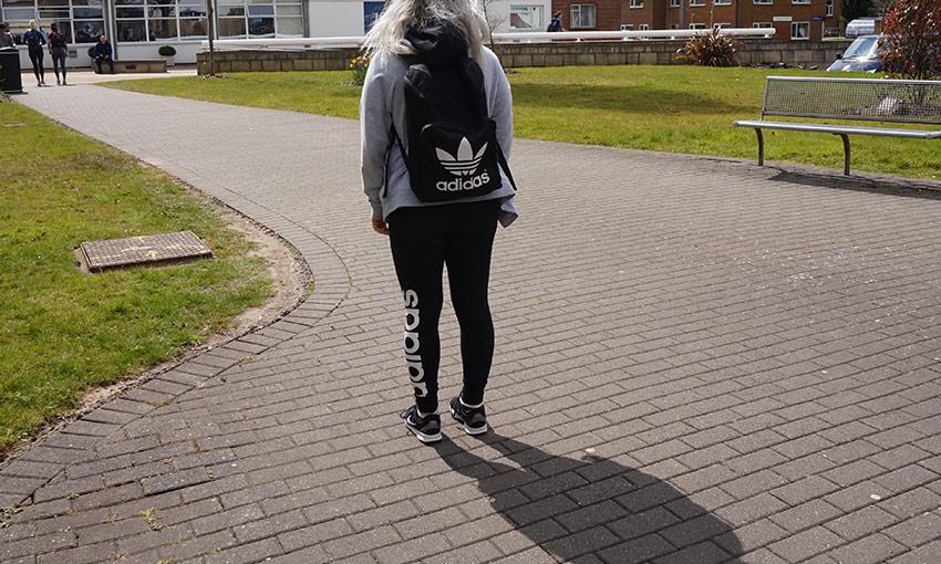 girl wearing backpack