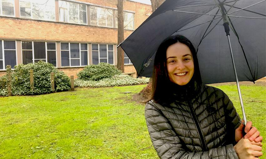 Sarah in the rain