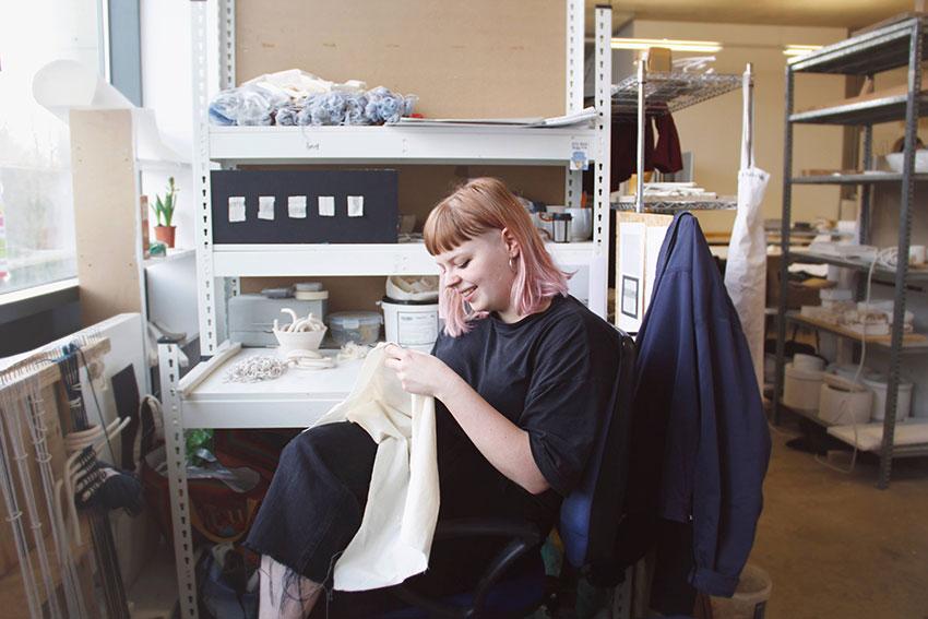 Annie in the studio