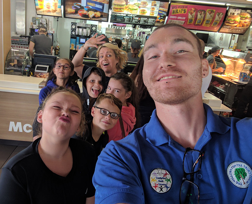 A youth club visiting McDonalds