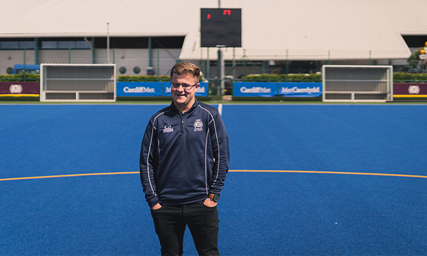 Student Ben Holdaway on the hockey pitch