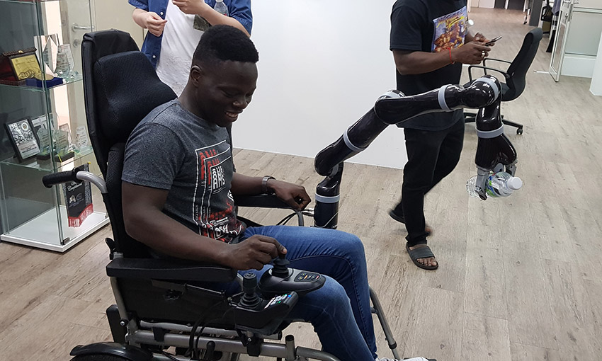 Moses testing a robotic wheelchair