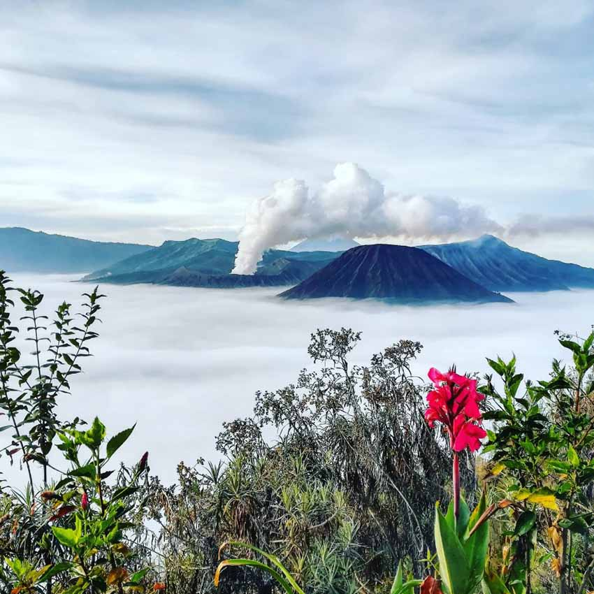 The volcano Mount Bromo as seen from a distance from a viewpoint
