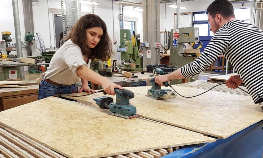 Eleanora working in the wood shop