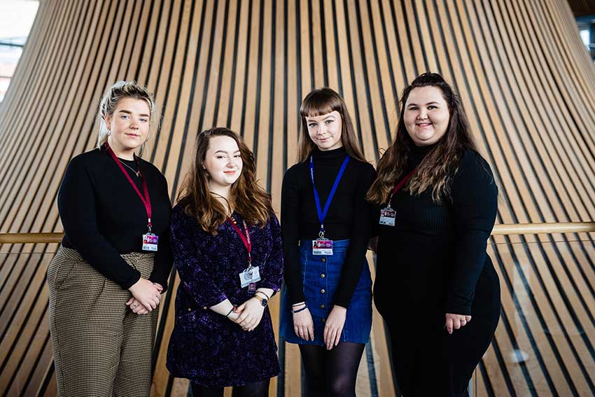 Katie and her team at the Senedd
