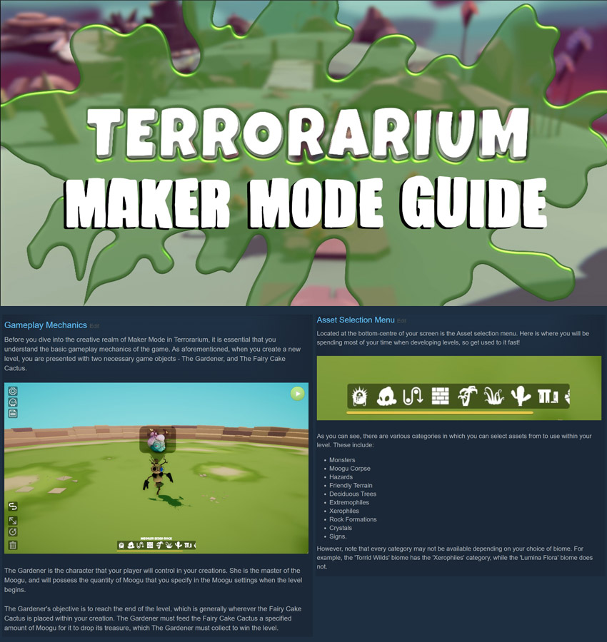 Three screenshots from the Terrorarium maker mode guide by Lewis Moholt