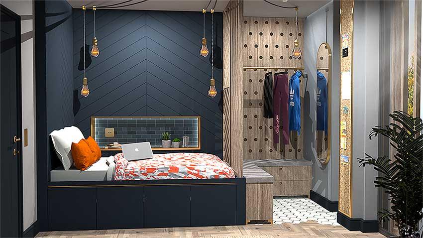 CGI bedroom render by Jarret