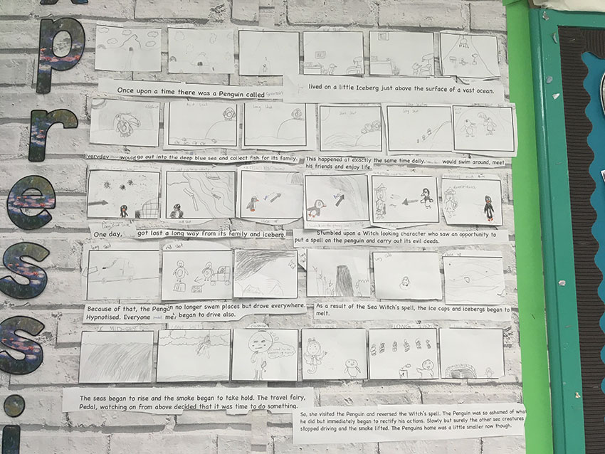 Storyboards for one of Tom's animation pieces