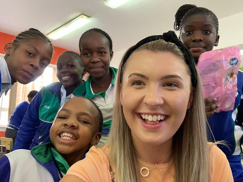 Amber with schoolchildren in Namibia