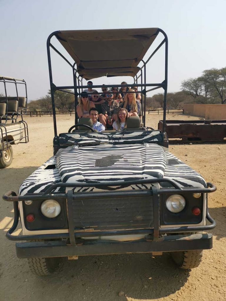 Amber's coursemates on safari in a jeep