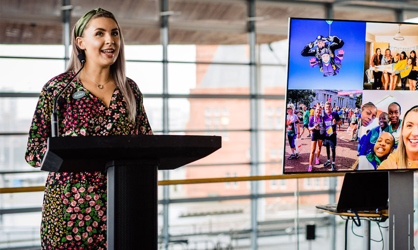 Amber presents at the Senedd