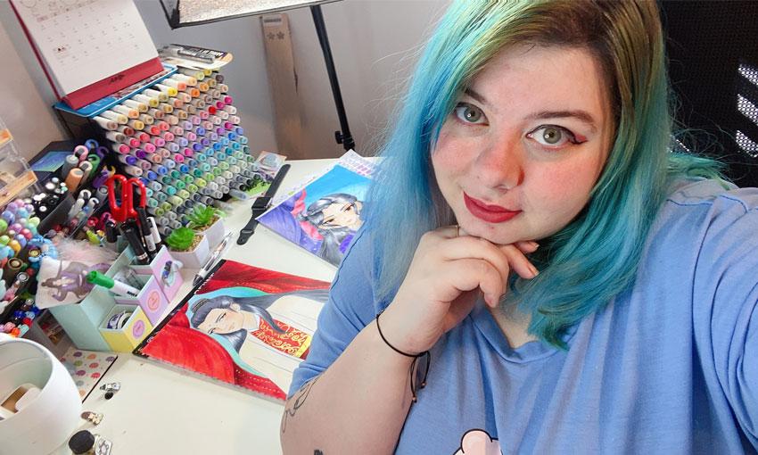 Rachel in her home studio